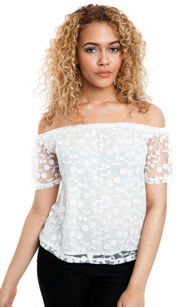 White Cherry Embroidered Off Shoulder Top by Urban Mist