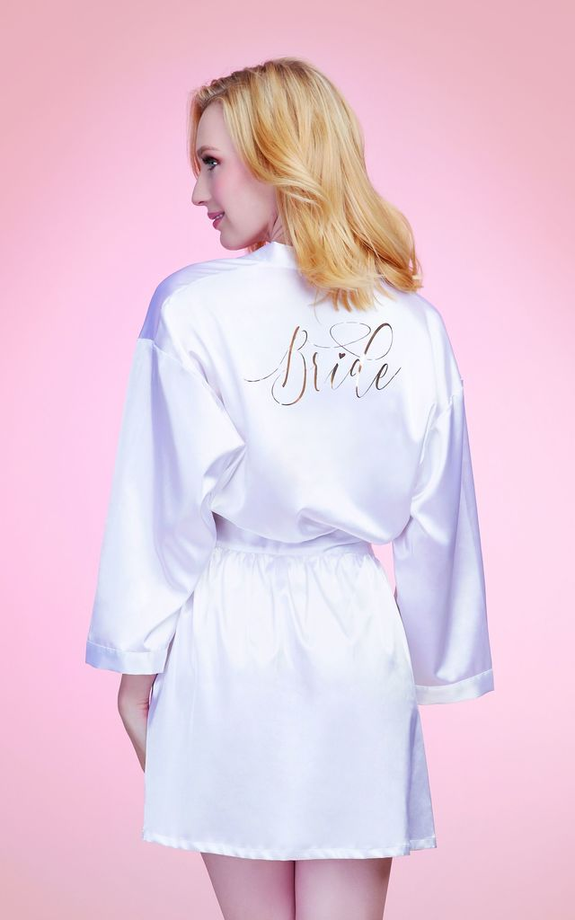 'Bride' Robe with Adjustable Tie Belt in White by DREAMGIRL