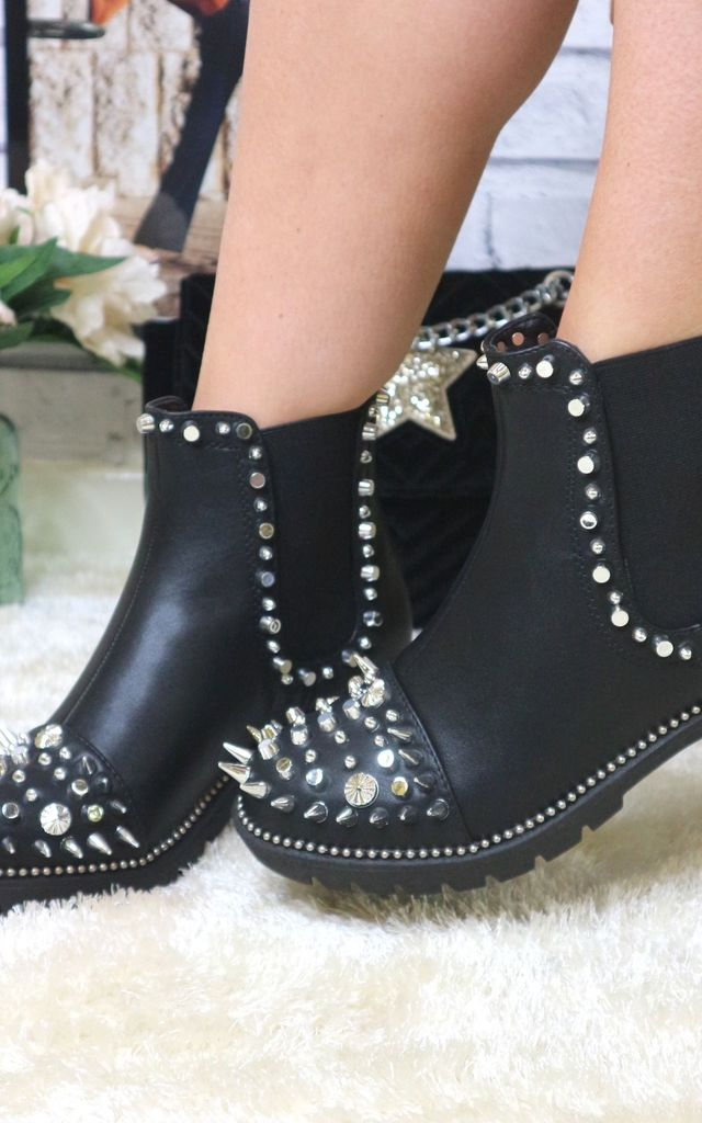 Black silver studded ankle boots by Bond Street Shoe Company