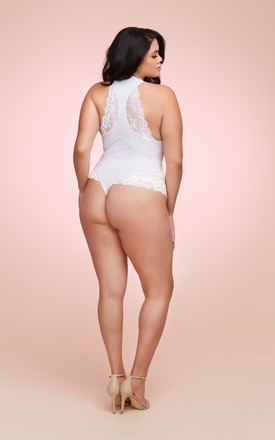 Plus Size Soft Spandex Jersey Wifey Bodysuit with Thong Back by DREAMGIRL