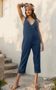 Racer Back Cropped Summer Jumpsuit Cotton Blue by likemary