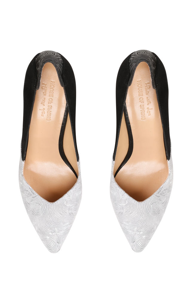 Black and Silver Stiletto Heels by House of Spring
