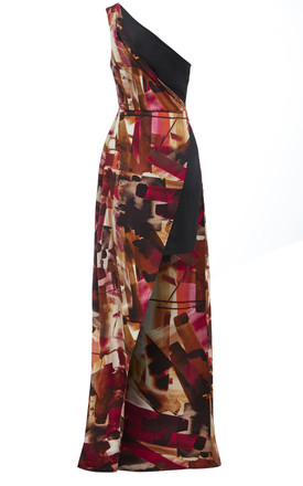 Claret - One shoulder side slit print dress by Sarvin