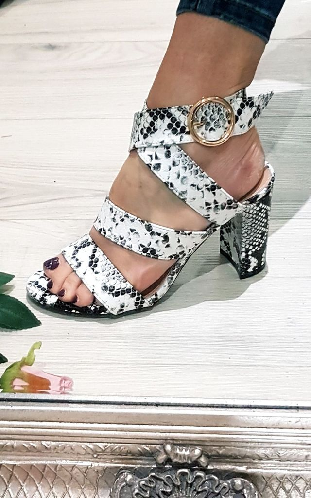 White Snake Print Block Wrap Heels by FOXY FROX