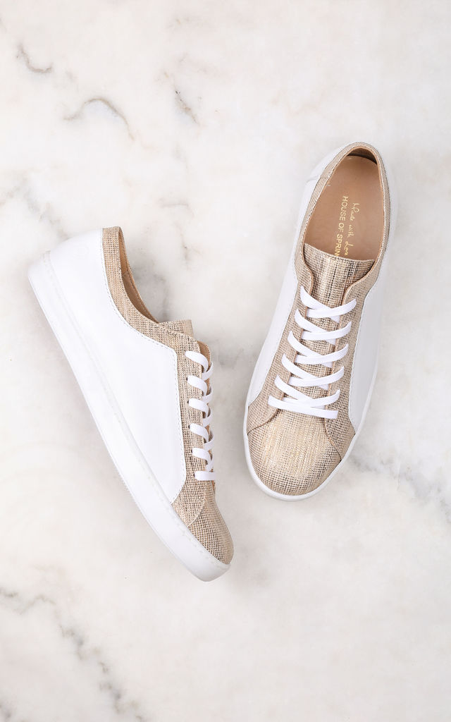 White Trainers with Leather Metallic Gold print by House of Spring