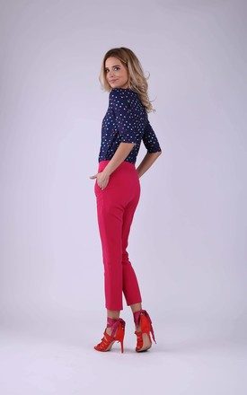 7/8 Trousers with two Pockets in Dark Pink by Bergamo