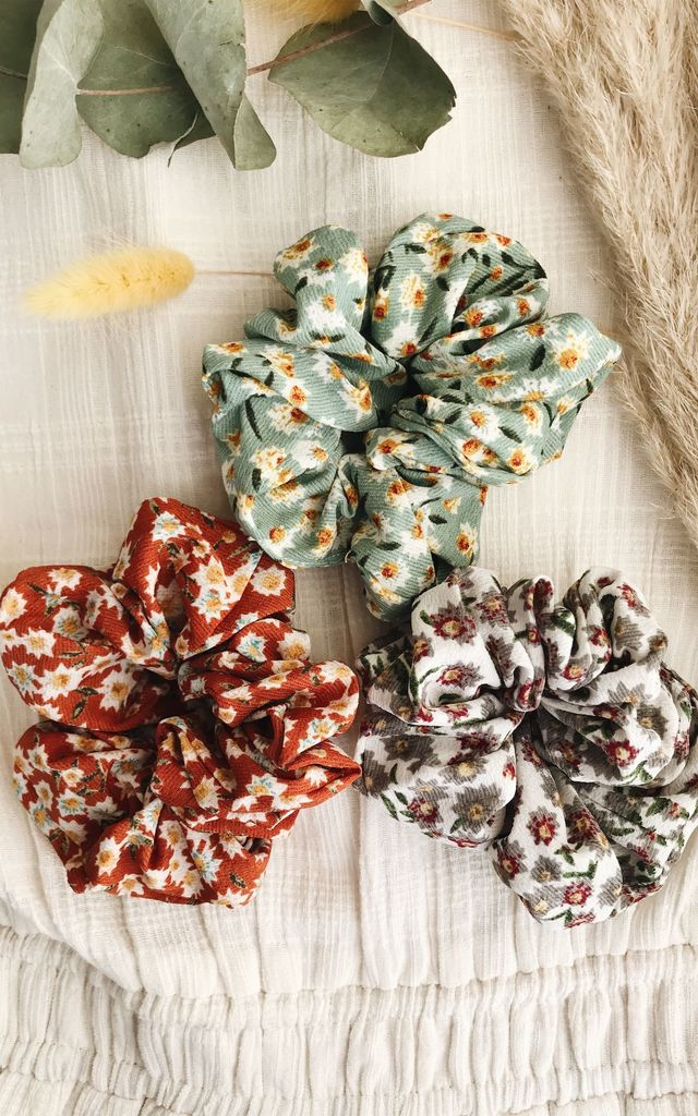Luciana Floral Woven Hair Scrunchie by Ajouter Store