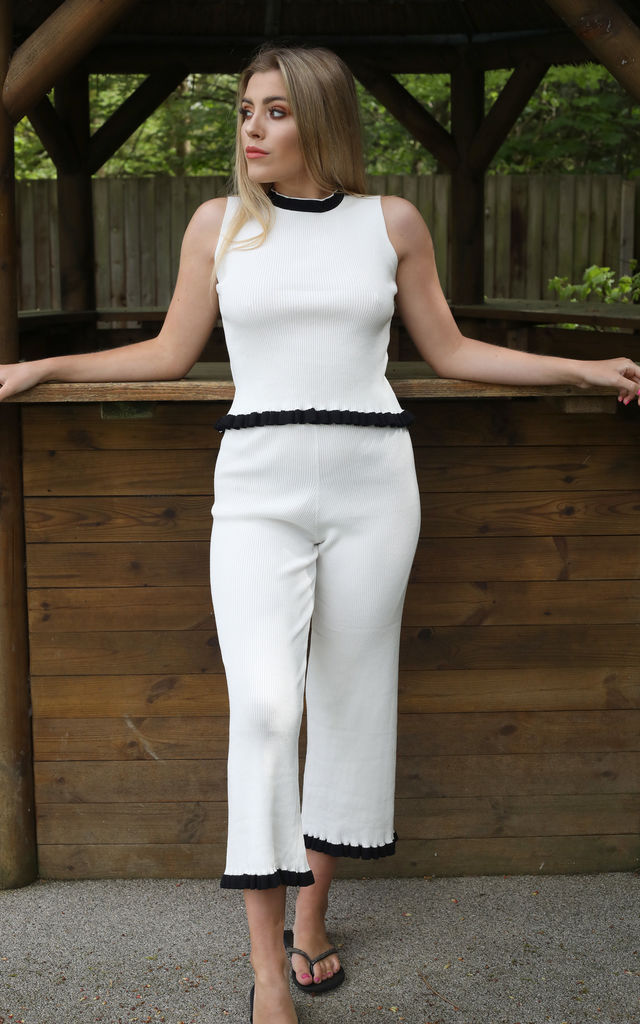 MARIA Knit Loungewear Co-ord Set in White by Giorgi London