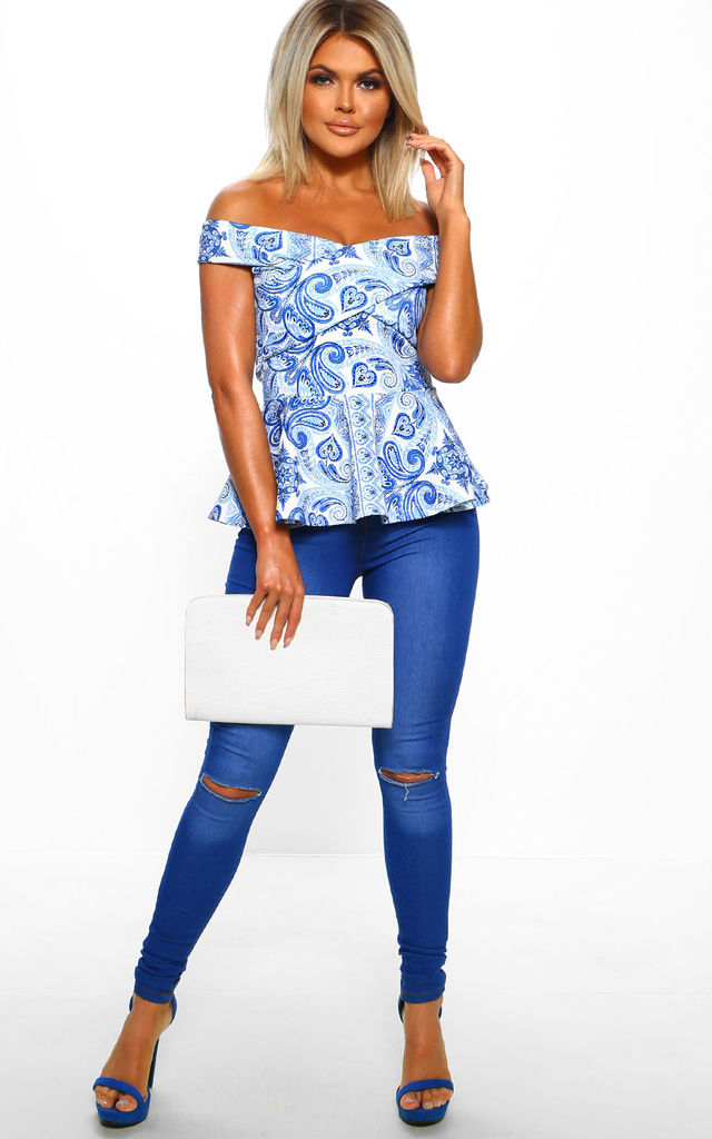 Love Not War Blue Printed Bardot Peplum Top by Pink Boutique