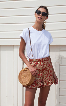 Rust Leopard Frill High Waisted Shorts by Styled In London Product photo