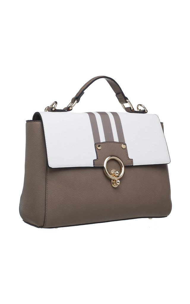 GOLD CLIP PORTFOLIO BAG in KHAKI by BESSIE LONDON
