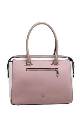 THREE TONE DOUBLE HANDLE TOTE BAG in PINK by BESSIE LONDON
