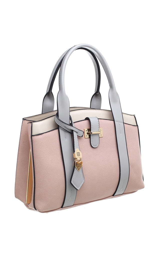 LONDON CHIC DOUBLE HANDLE TOTE BAG WITH FRONT POCKET in PINK by BESSIE LONDON