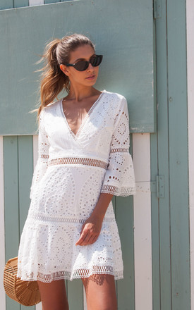 White Broderie Flare Sleeve Dress by Styled In London Product photo