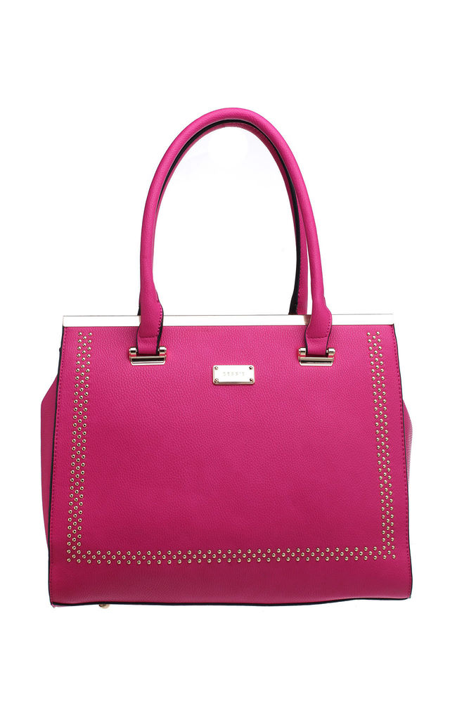 URBAN TOTE BAG WITH GOLD STUDS in FUCHSIA by BESSIE LONDON