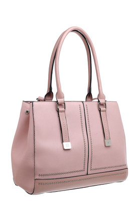 SYMMETRICAL SHOULDER BAG WITH SMALL EYELET in PINK by BESSIE LONDON