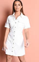 Denim button through mini shirt dress cream white by LILY LULU FASHION