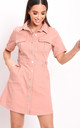 Denim button through mini shirt dress terracotta pink by LILY LULU FASHION