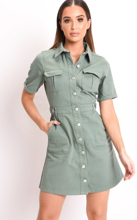 Denim button through mini shirt dress green by LILY LULU FASHION