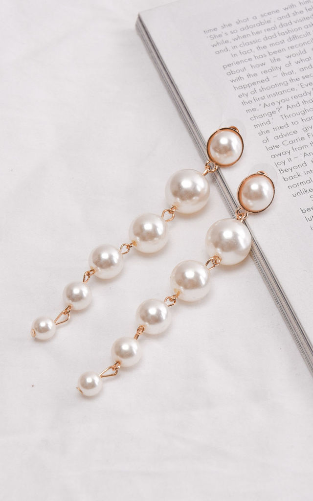 Pearl drop earrings gold by LILY LULU FASHION