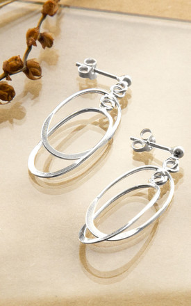 Sterling Silver Double Oval Stud Earrings by Martha Jackson Jewellery