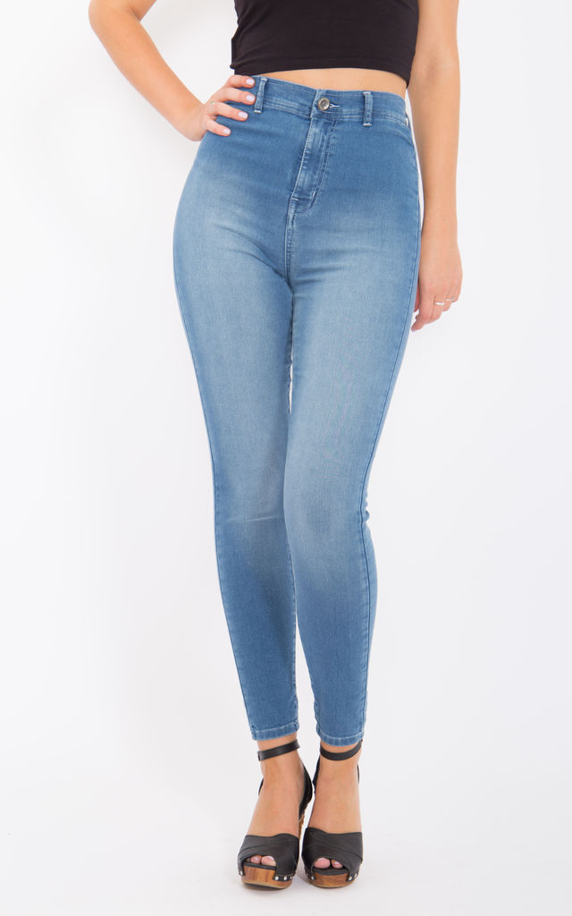 High Waist Jeggings in Used Look - Light Blue - Skinny Fit by WAY OF GLORY