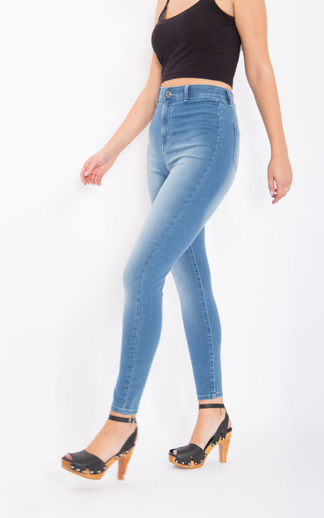 High Waist Jeggings in Light Blue by WAY OF GLORY