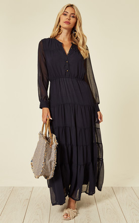 Long Sleeve Layered Maxi Dress In Navy Blue by CY Boutique Product photo