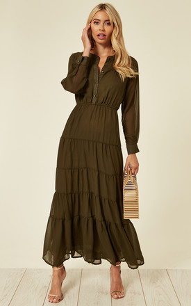 Long Sleeve Layered Maxi Dress In Khaki Green by CY Boutique Product photo