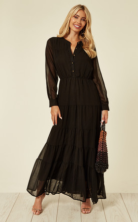 Long Sleeve Layered Maxi Dress In Black by CY Boutique Product photo