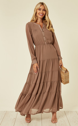 Long Sleeve Layered Maxi Dress In Brown by CY Boutique Product photo