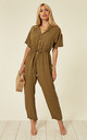 Cotton Short Sleeve Jumpsuit in Khaki Green by CY Boutique