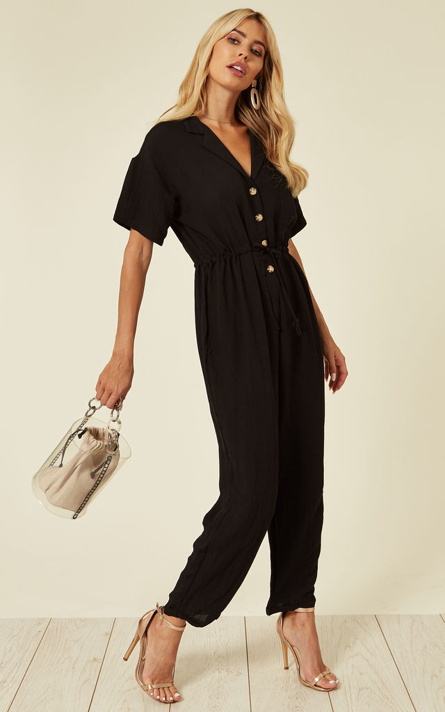 Cotton Short Sleeve Jumpsuit in Black by CY Boutique