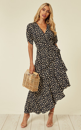 0d22858b0c3f Ruffled Wrap Midi Dress In Black Sweet Heart Print. £45.00 NEW + colours