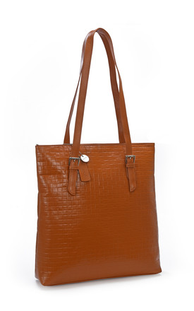 Leather Tote Bag with Zip Top in Burnt Orange by hydestyle london