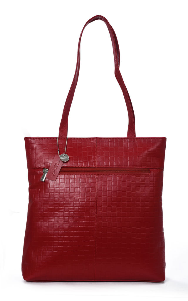 Embossed Leather Tote Bag with Zip Top in Red by hydestyle london