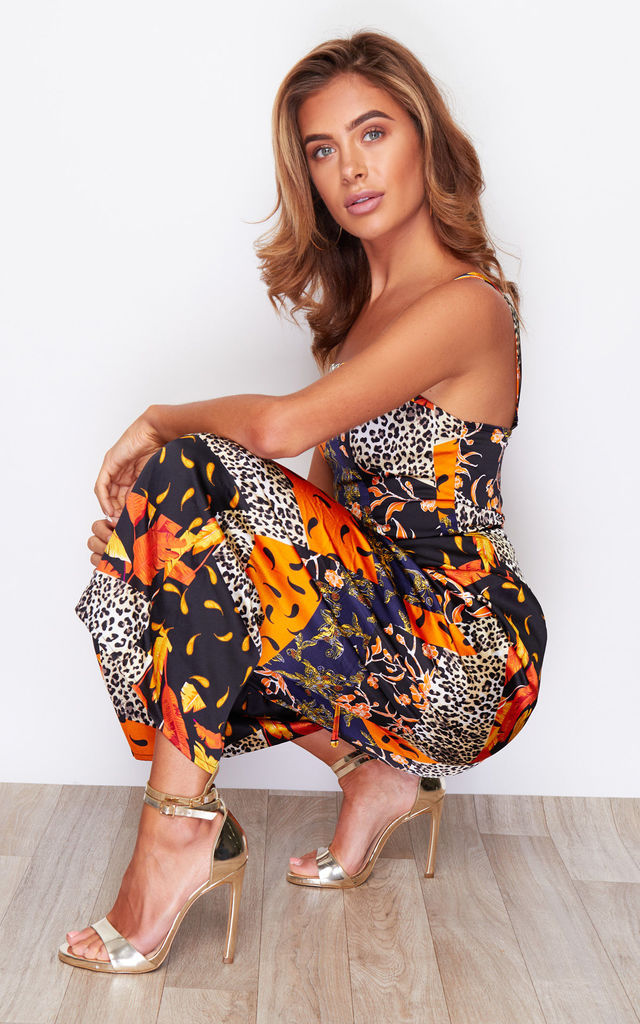 Kyrie Square Neck Tie Waist Jumpsuit Orange Paisley by Girl In Mind