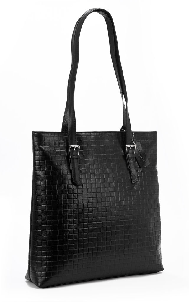Embossed Black Leather Tote Bag with Zip Top by hydestyle london