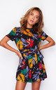 Gabby Trim Detail Playsuit Tropical Print by Girl In Mind