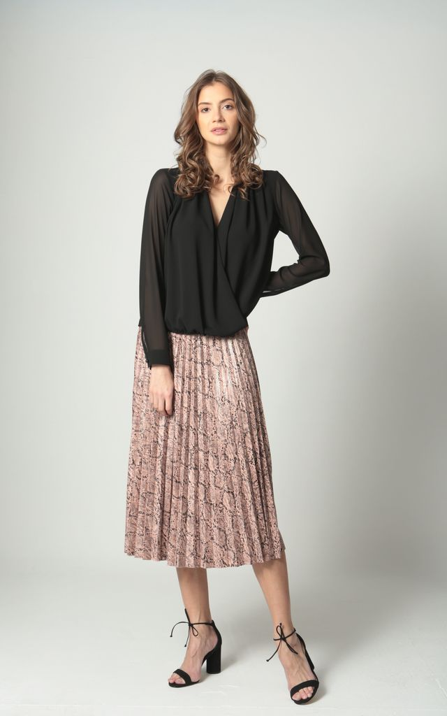 Python Print Midi Pleated Skirt In Pink By LULU STYLE