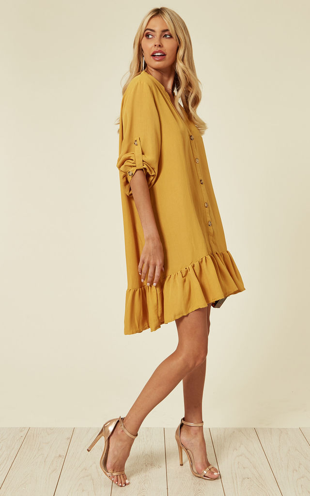Long Sleeve Oversized Linen Shirt Dress in Mustard Yellow by CY Boutique
