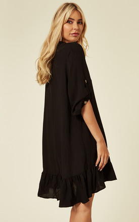 Long Sleeve Oversized Linen Shirt Dress in Black by CY Boutique
