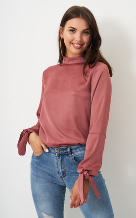 Rose High Neck Tie Sleeve Blouse. by Frontrow Limited