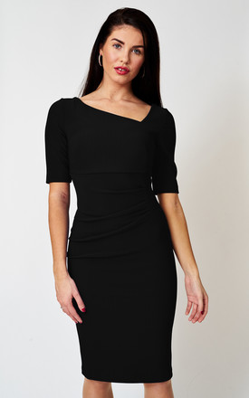 The London Black Asymmetric Dress in stretch ribbed fabric by Off the Catwalk
