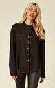 Long Sleeve Chiffon Shirt with Mandarin Collar in Black by CY Boutique