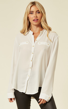 Long Sleeve Chiffon Shirt with Mandarin Collar in White by CY Boutique