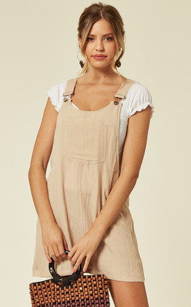 Linen Mini Pinafore Dress In Beige by CY Boutique Product photo