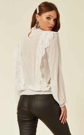 CHATTERLEY FRILLY BLOUSE in WHITE by Jovonna London