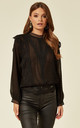 CHATTERLEY FRILLY BLOUSE in BLACK by Jovonna London