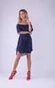 Summer Off Shoulder Dress in Navy with Multicolor Dots by Bergamo